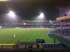 A rainy 8th inning at Coca-Cola Park as the IronPigs take on the Scranton RailRiders.