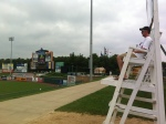 One of the lifeguard chairs overlooking the outfield.