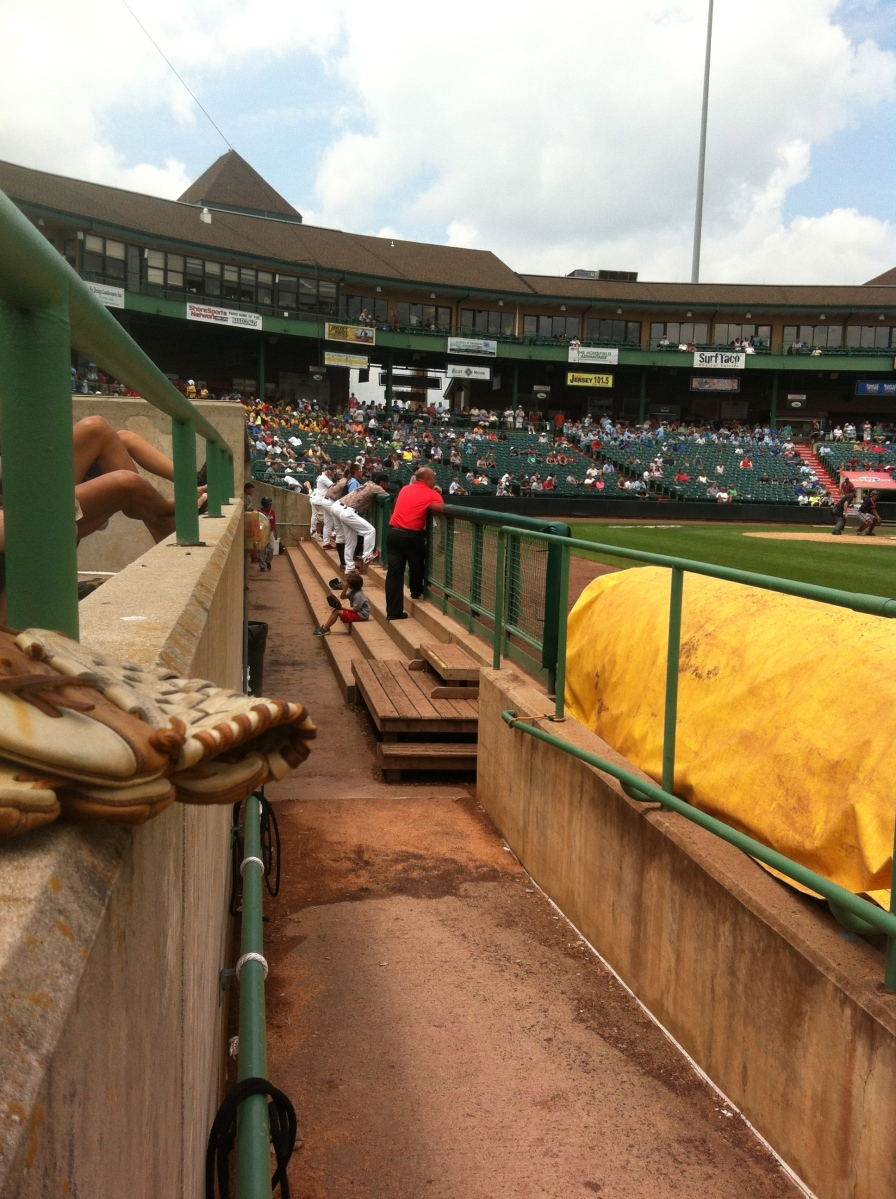 A shot looking at the home dugout.